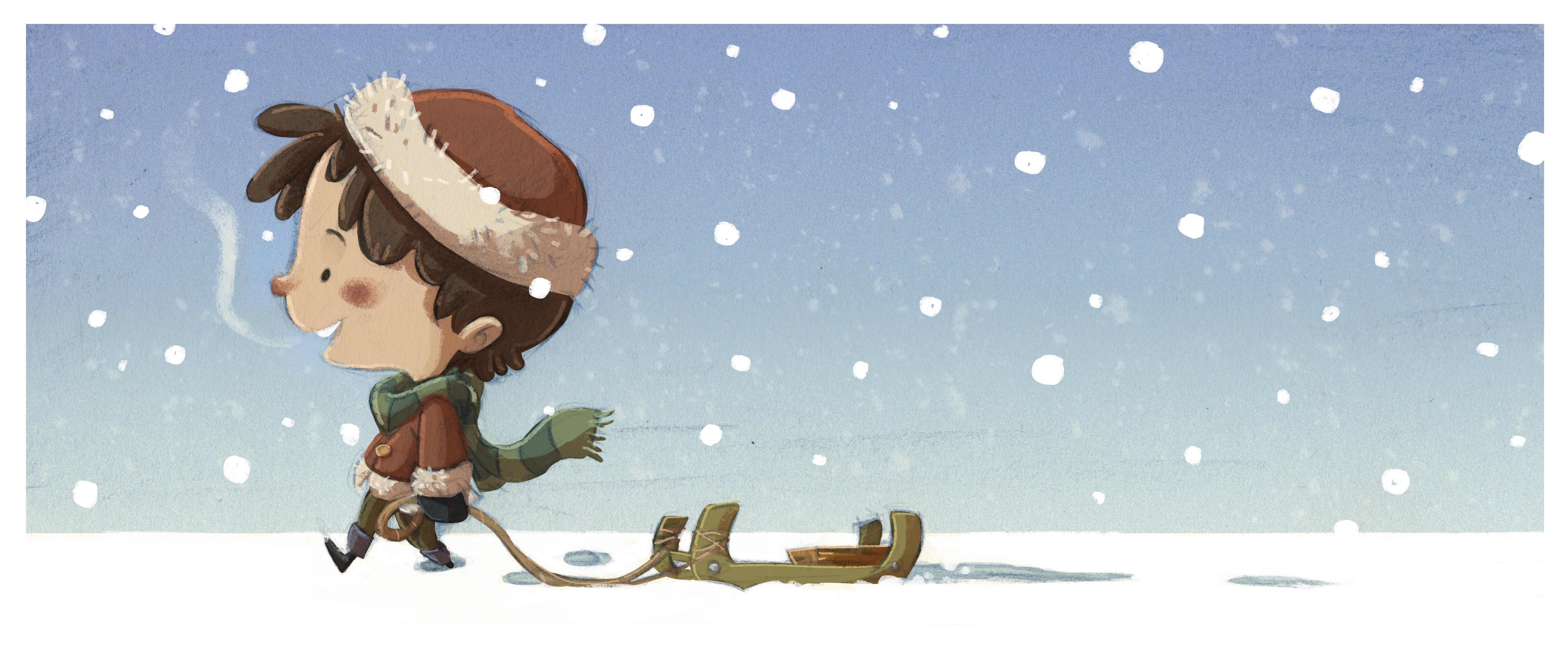 Niño con trineo en la nieve